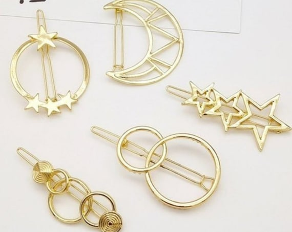 Gold-Tone Moon and Stars Hair Clip Set of 5 - Hair clips for women - Bohemian Style Barrettes