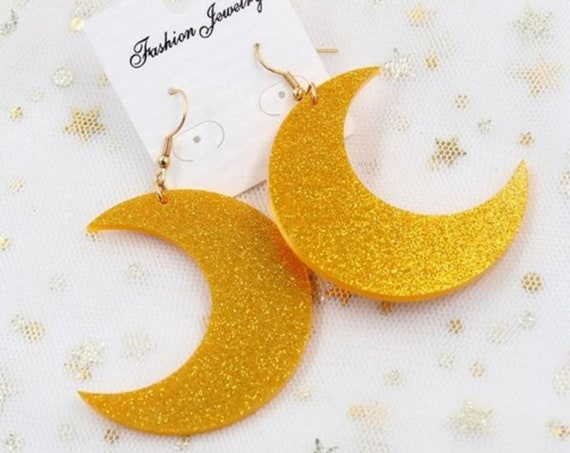 Bohemian Glitter Gold Acrylic Witchy Earrings - Celestial Gold Crescent Moon Dangle Earrings - Moon Witch Jewelry