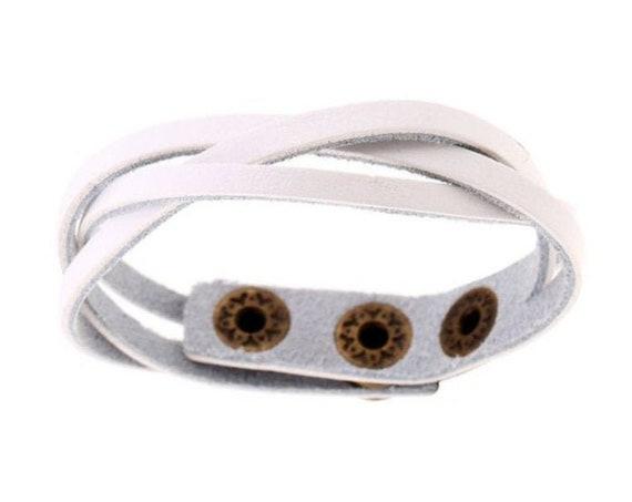 Bohemian Western Minimalist Trendy Festival White PU Vegan Leather Braided Snap On Bracelet Gift for Her