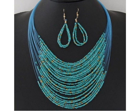 Boho Bohemian Festival Minimalist Western Turquoise Seed Bead Necklace and Earring Set Trendy Gift For Her