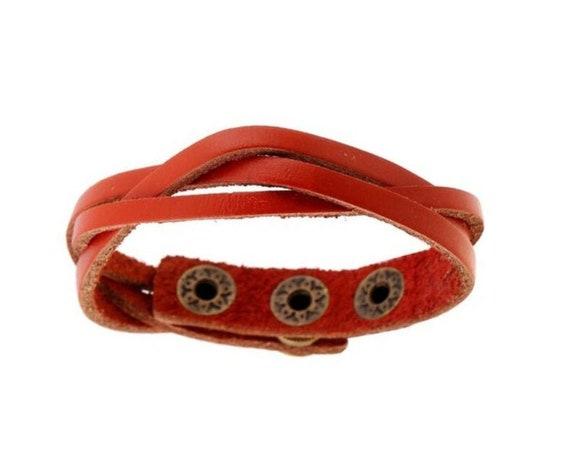 Bohemian Boho Western Minimalist Burnt Orange PU Vegan Leather Braided Snap On Bracelet Gift for Her