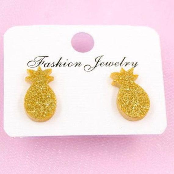 Boho Bohemian Retro Cute Funky Gold Little Glitter Pineapple Stud Earrings Gift for Her