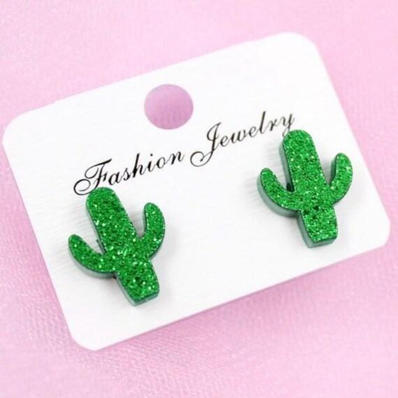 Boho Bohemian Western Retro Cute Funky Green Little Glitter Cactus Succulent Acrylic Stud Earrings Trendy Gift for Her