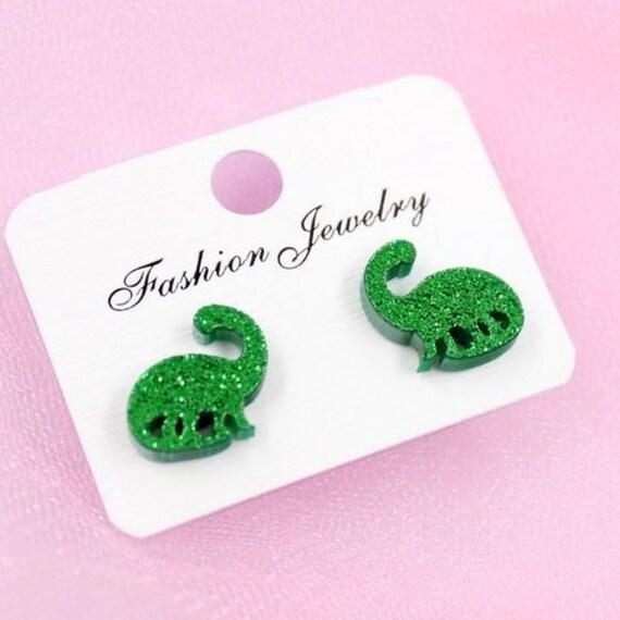 Boho Bohemian Retro Cute Funky Green Little Glitter Dinosaurs Brontosaurus Stud Earrings Gift for Her