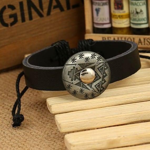 Boho Western Festival Minimalist Black PU Vegan Leather Aztec Concho Adjustable Bracelet Trendy Gift for Her