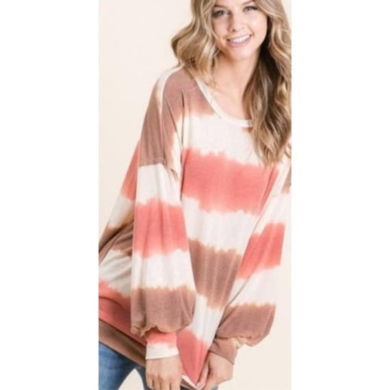 Lime n Chili Taupe Rust Watercolor Stripe Round Neck Long Sleeve Top Feels Extremely Soft
