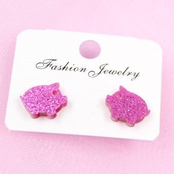 Boho Bohemian Retro Cute Funky Pink Little Glitter Pig Piglets Piggy Stud Earrings Gift for Her