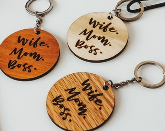 Wooden keychain / Wooden keyring / Wife-Mom-Boss / Gift for her / Gift for Mom / Gift for wife / Made from quality hardwoods