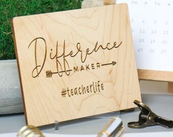 Teacher Thank You, Teacher Appreciation, Preschool Teacher, Wood Card,