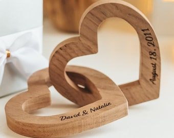 Personalized Interlocking Wooden Hearts, Anniversary or Valentine's Day Gift for Him or Her,