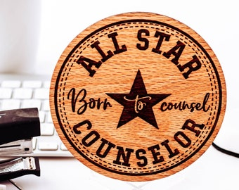 Counselor Gifts, Thank You Card, Wood Card, Personalized Card,