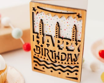 Happy Birthday Card, Wooden Birthday Card, Birthday Gifts for Her, Wood Greeting Card, Unique Birthday Cards,