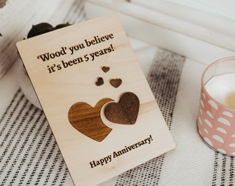 Anniversary Card for Husband, 5 Year Anniversary Card, Wood Anniversary, 5th Anniversary Gift for Him,