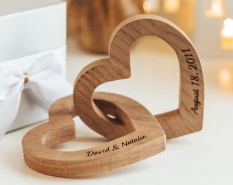 5th Anniversary Gift for Her, 5 Year Anniversary Gift for Husband, Wooden Interlocking Hearts