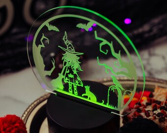 Halloween Witch, Spooky Decor, LED Night Light, Kids Night Light, Halloween Decor,