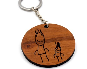 Childs artwork engraved onto a wooden keychain / Christmas Gift / Fathers Day Gift / Gift for Grandparents / Gift from kids / Teacher gift