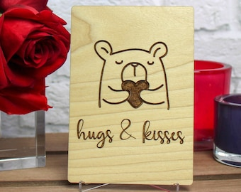 Thinking of You Card, Miss You Card, Wooden Card,