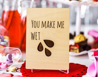 Wooden card with engraved message / Naughty Anniversary Card / Adult humor card / Cheeky Valentine's card / Funny card for him / Mature Card