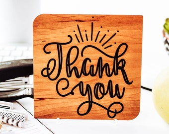 Thank you card / Unique Thank you card with engraved personalized message / Thank you gift / Display stand included