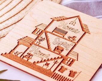 Home Sweet Home Card, New Home Gift Wood, Housewarming Gift,