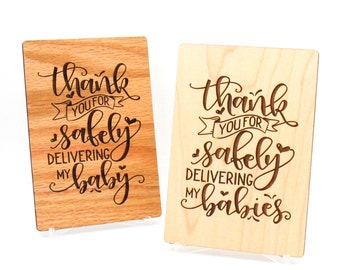 Midwife Gift, Midwife Thank You, Midwife Gift Ideas, Wooden Gift Cards,