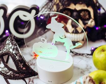 Witch, Pumpkin, Halloween Decorations, LED Lights, Acrylic Sign, Night Light,