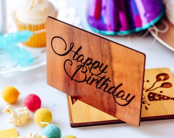 Engraved wood Birthday Day card with Personal Message / Happy Birthday Card / Wooden Personalized Birthday Card / Includes Envelope & stand