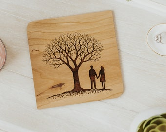 5th Anniversary Gift for Her, 5 Year Anniversary Card, Wood Anniversary Gift, Personalized Anniversary Gift for Wife,