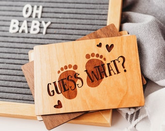 Guess What, Im Pregnant, Baby Announcement, Pregnancy Announcement Cards, Wooden Cards