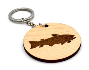 Fish Keychain Wood, Gifts for Fisherman, Personalized Fishing Keychain, Fishing Gifts for Men, Laser Engraved Wooden Keychain with Fish