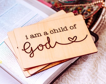 I am a Child of God, Goddaughter Gifts, Baptism Gift Girl, Christening Gift, Personalized Gift, Christening Card, Wood Card,