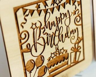 Happy Birthday Card, 50th Birthday Cards, 30th Birthday Gift for Her, 90th Birthday Card, Wooden Card,