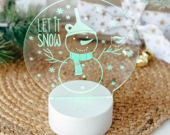Let it Snow Sign, Christmas Night Light, Kids Night Light, Night Lamps, Acrylic Sign