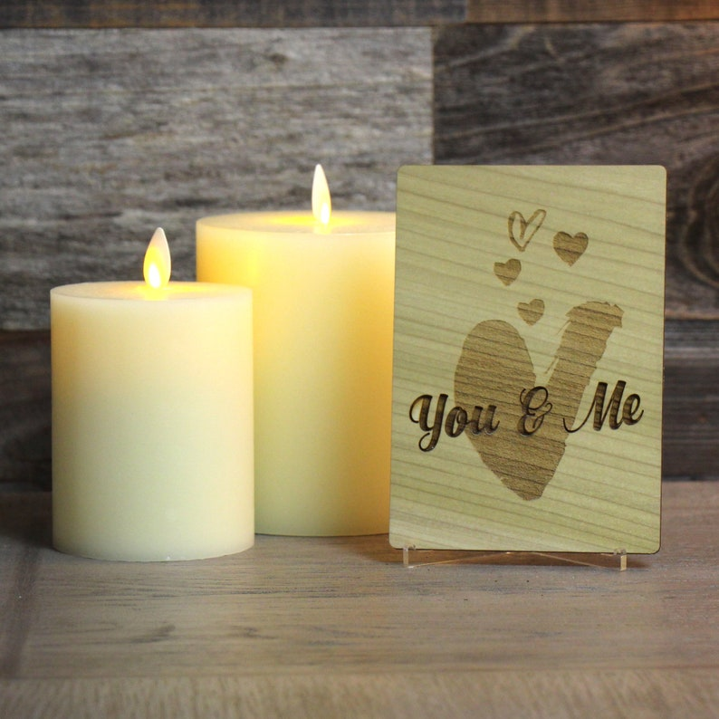 Engraved wood anniversaryvalentine\u2019s card with personal message  Made using quality hardwoods  Includes display stand