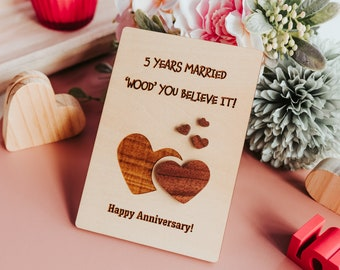 5 Year Anniversary Gifts for Women, 5th Anniversary Card, 5th Anniversary Gift for Her,  5th Anniversary Wood,
