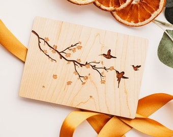 Anniversary Card for Husband, 5 Year Anniversary Card, Wood Anniversary, Hummingbird