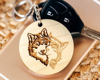 Wolves Husky engraved keychain / Wooden keyring / Gift for husky owner / Wolf accessory / Gift for Wolf lover / Made from quality hardwoods