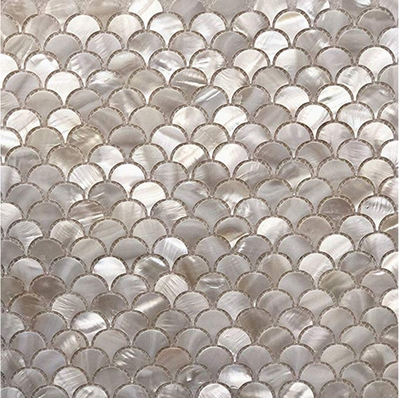 Handmade White Fish Scale Mother Of Pearl Mosaic Tile For Etsy