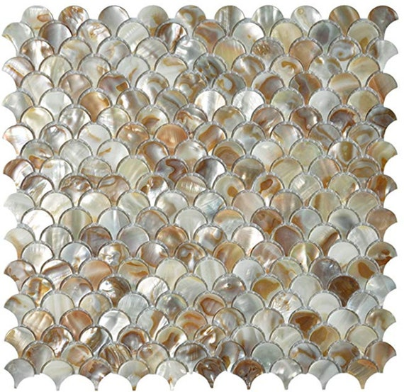 Handmade Iridescent Fish Scale Mother Of Pearl Mosaic Tile For Etsy