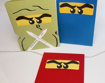 Children's Birthday Gift Bags + Cards, Pennant Necklace with Ninja Fighters
