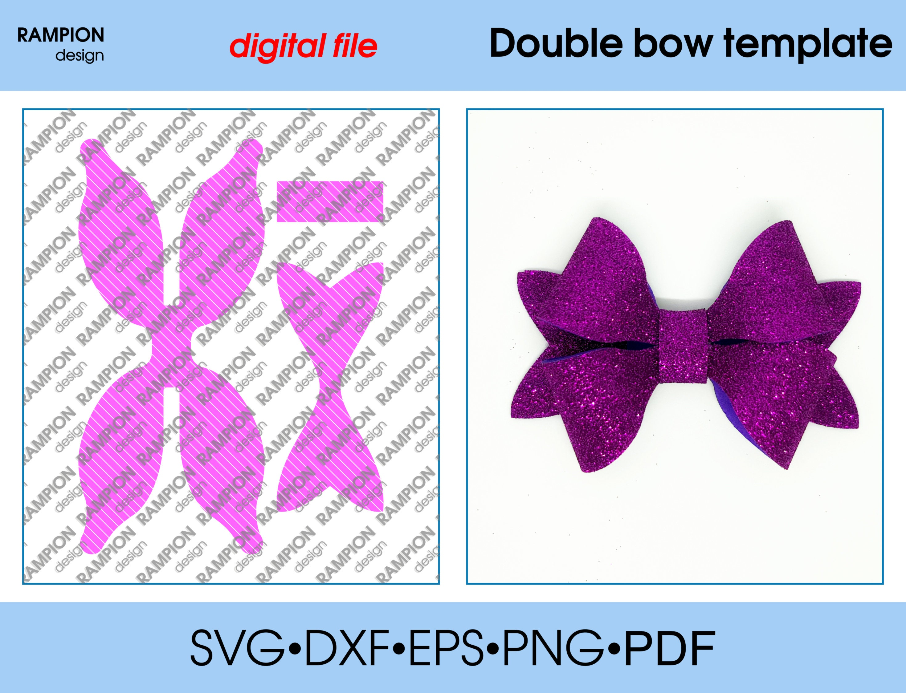 Download Double bow Template SVG Cut File hair bow template for ...