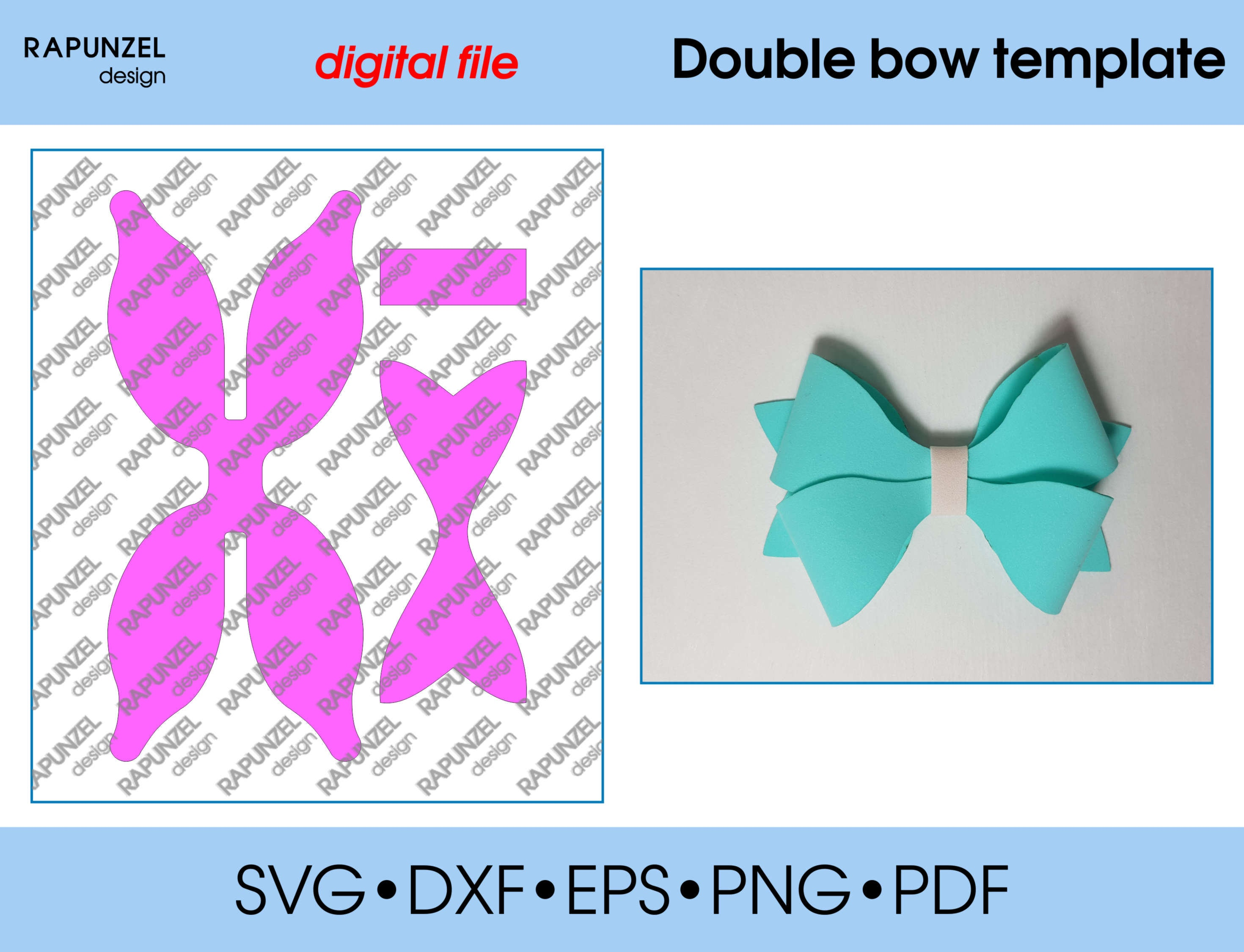 Double bow Template SVG Cut File hairbow template for ...