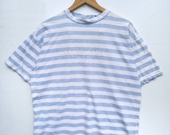 3146b6e281 vintage GUESS JEANS Usa stripes t-shirt 1990's sportswear stripes  blue/white Asap rocky style size XL