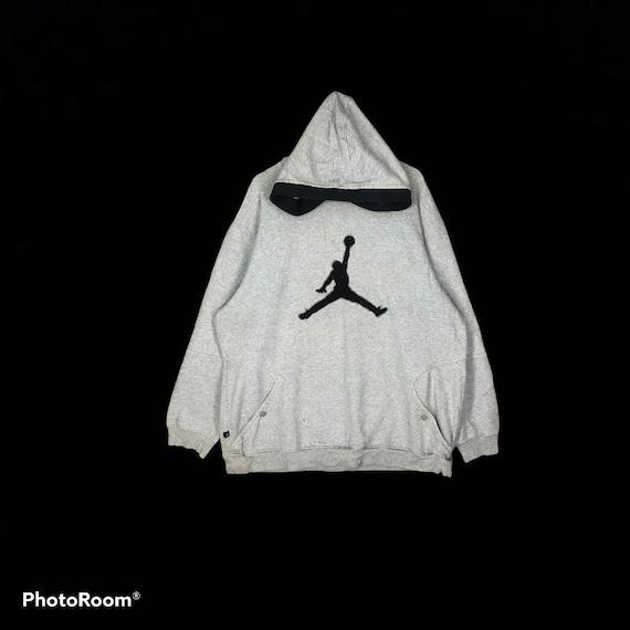 RARE Air Jordan Big logo Embroidery Hoodie Ash gre