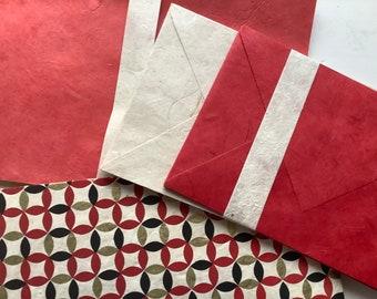 """Edel BRIEFPAPIER Set Hand Printed """"Japanese Circles"""" Lokta Paper 15Sheets 10Kuverts DinA5 C6 Stationery Writing Set"""