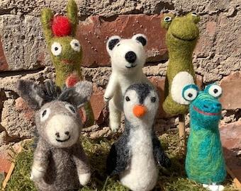 Felt finger puppet donkey FROSCH caterpillar Nimmersatt DRACHE Dino PINGUIN polar bear felted hand puppet