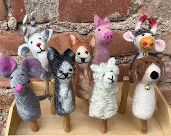 Felt finger puppet sheep CAT dog GOGE mouse COW pig felted hand puppet
