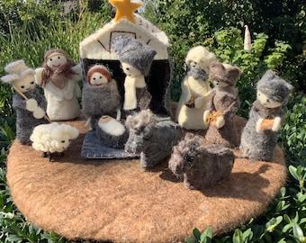 "Felt ""Krippe to Go"" CHRISTMAS CRIB Stable Maria & Josef Jesuskind hl 3 Kings Shepherd Shepherd Ox Donkey Sheep Angel"