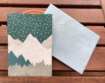1 greeting card BERGWELT folding card handmade Lokta paper hand printed + C6 envelope