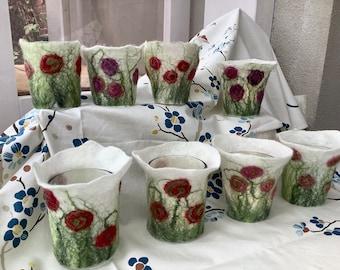 1 felted flower meadow Windlight FELTWINDLICHT to choose from